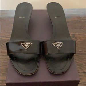 AUTHENTIC PRADA SLIDES BLACK LEATHER SIZE 41 10